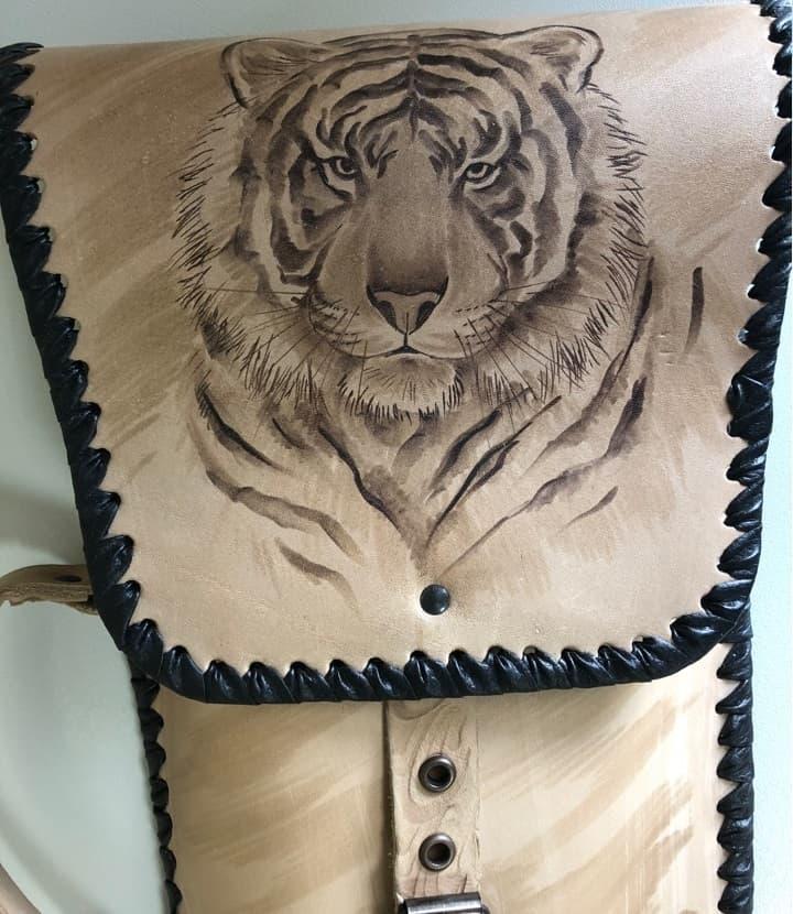 Набор шампуров Колчан Тигр, кожаный чехол, шампуры - фото 8730