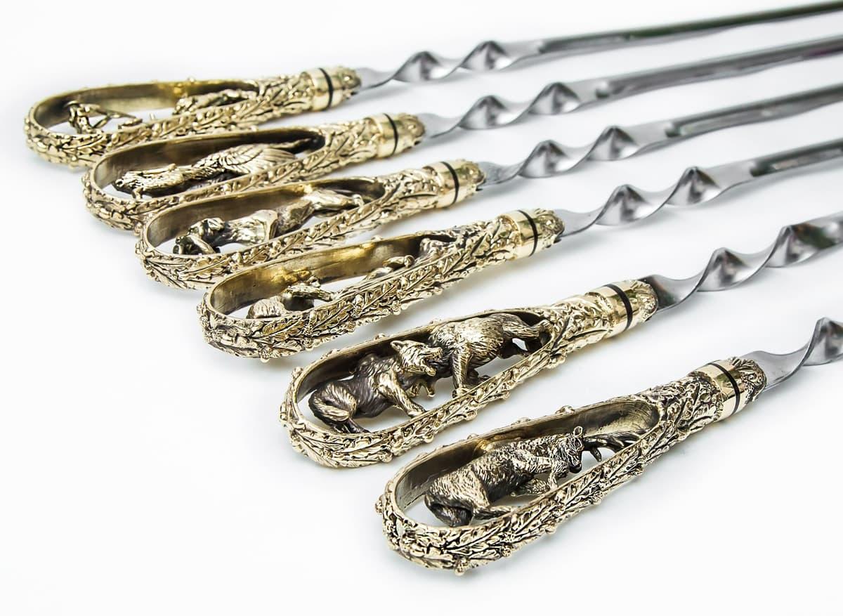 Подарочный набор шампуров Охотничьи трофеи, ручка литье латунь, 6 штук - фото 8747