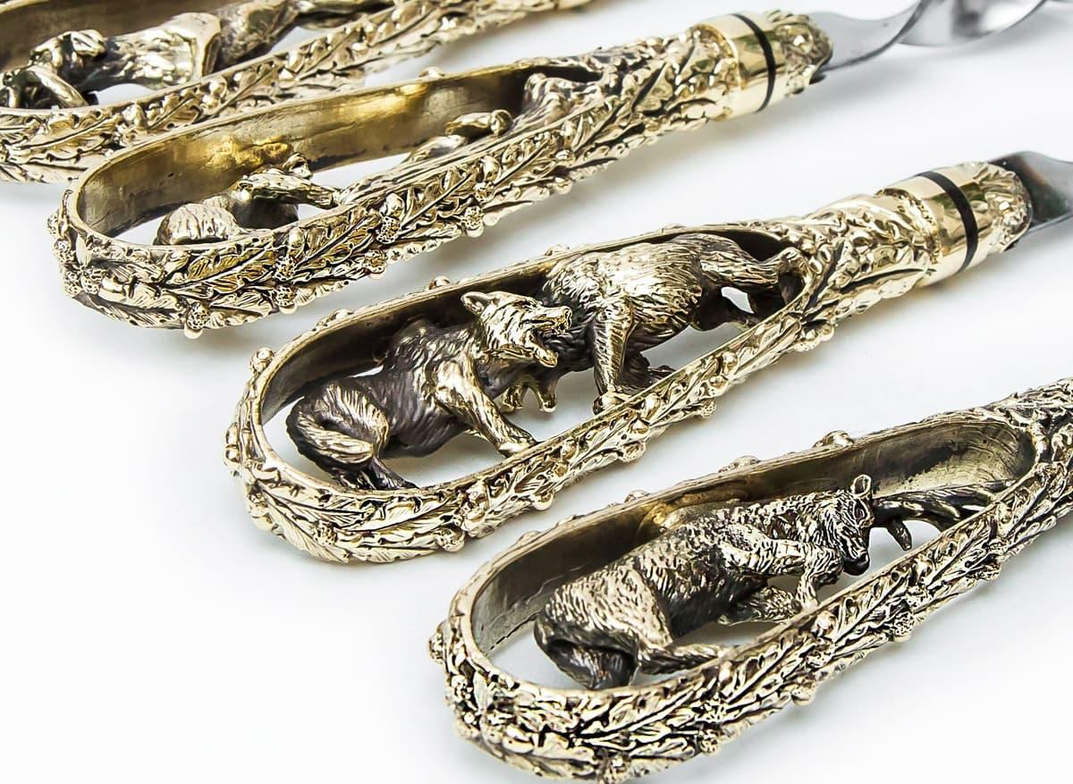 Подарочный набор шампуров Охотничьи трофеи, ручка литье латунь, 6 штук - фото 8748