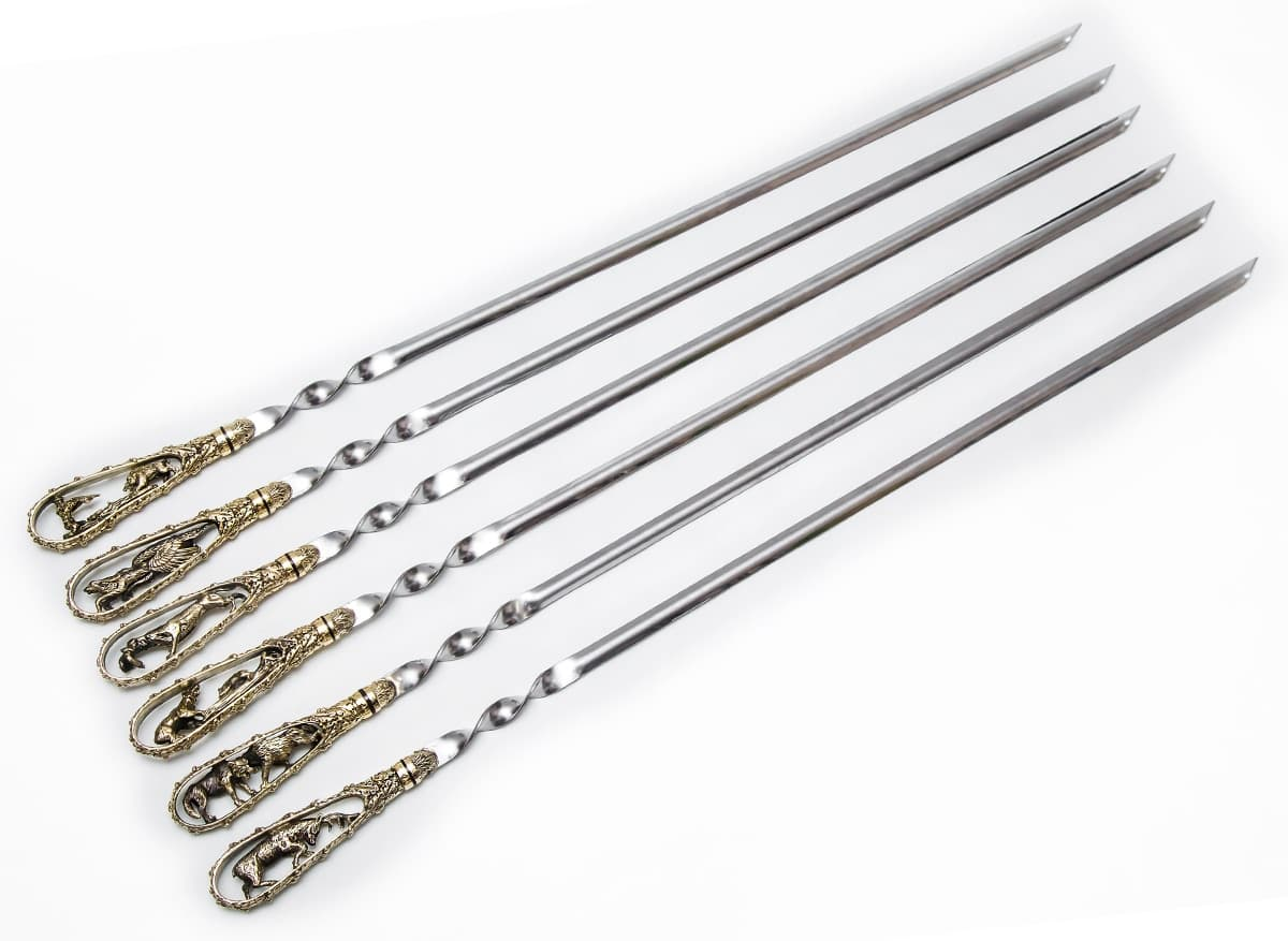 Подарочный набор шампуров Охотничьи трофеи, ручка литье латунь, 6 штук - фото 8749