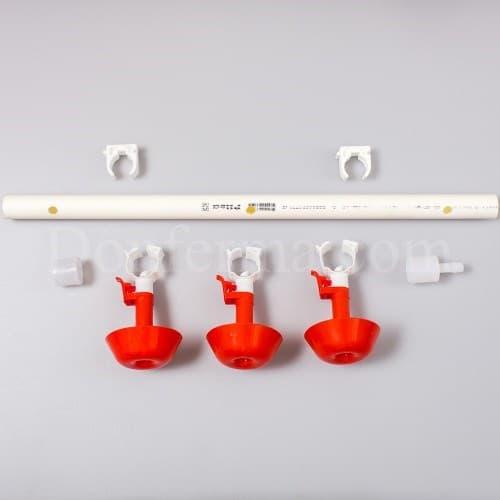 Система поения - 50 см. труба и три чашечные поилки арт. 3083 - фото 9790