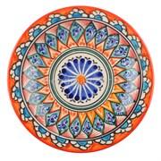 Риштанская Тарелка плоская 17 см. оранжевый Мехроб
