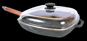 Сковорода-гриль чугунная 260х260х40 с ручкой и стеклянной крышкой арт. 1026С